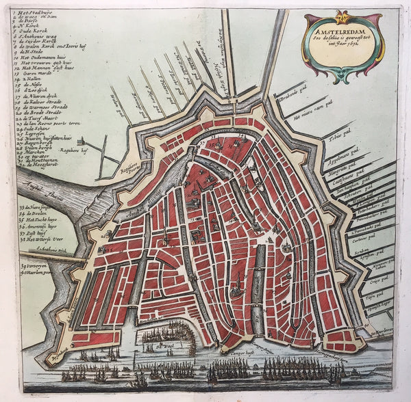 Amstelredam Soo deselve is geweest tot int Jaer 1612'. Nice detailed map of Amsterdam as it was in the year 1612. This hand coloured engraving was published in 1664