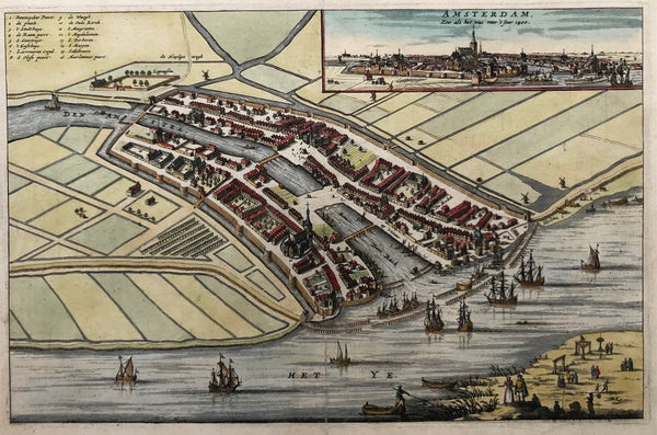 'Amsterdam, zoo als het was voor 't jaer 1400' . This nice, decorative map of Amsterdam shows the city as it was in the year 1400. In top right corner small profile view of Amsterdam, seen from the IJ