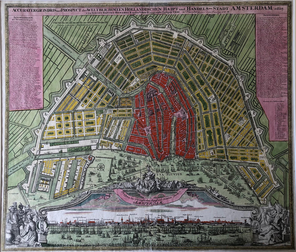 map, old map, antique map, amsterdam, oude kaart, antieke kaart, plattegrond, plan, townplan, holland, city, netherlands, homann, nurnberg, engraving, gravure, map of amsterdam, old map of amsterdam, kaart van amsterdam, grundris, 18th century, 1725