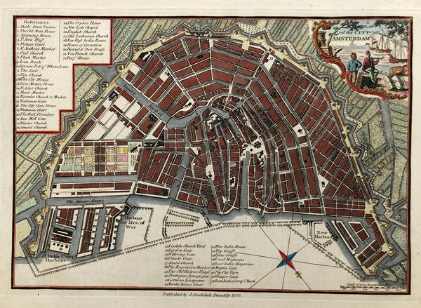 'A plan of the city of Amsterdam' Nice, very detailed map of Amsterdam , hancoloured engraving. Published by J. Stockdale, Piccadily, 1800.