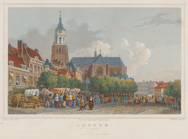 arnhem, gelderland, markt, grote markt, old print, antique print, engraving, city view, colour,church arnhem