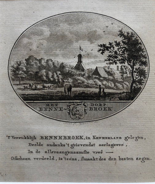 'Het Dorp Bennebroek' . Nice small oval engraving by Anna C. Brouwer of this small village in North Holland. Published in 1796