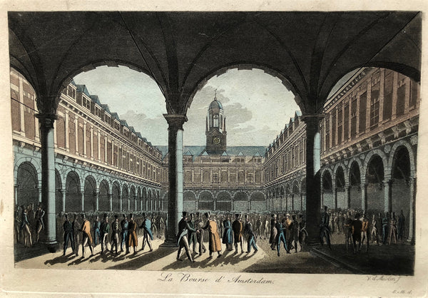 la bourse amsterdam, Amsterdam, stocks , exchange, beurs, engraving, antique print, trading, van der meulen, maaskamp, colour