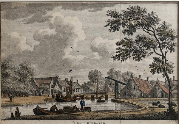 birdaard, burdaard, friesland, boats, landscape, engraving, old print, antique print, colour, bulthuis, view