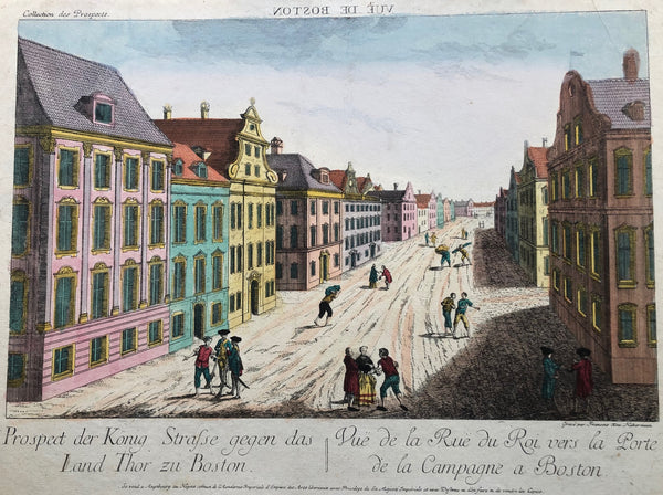 Prospect der König Strasse gegen das Land Thor zu Boston, old print, antique print, engraving, optical, optique, boston, augsburg, america, US, usa, king street, prospect, view