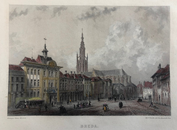breda, brabant, old print, antique print, city, view, engraving, colour, church