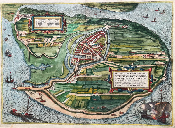 Brilium, brielle, Very nice, decorative map of Den Briel in the southern part of Holland. Birds -eye view by Braun and Hogenberg