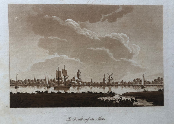 Brielle, briel, briele, maas, old print, antique print,oude prent, antieke prent, aquatint, engraving ships, church, windmill, dutch, holland, zuid holland, rivier, river