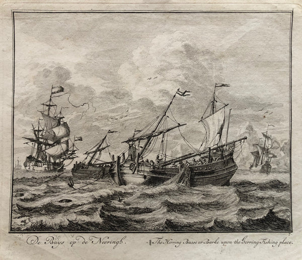 'De Buys op de Neeringh || The Herring Busse or Barke upon the herring Fishing place'.  Engraving by Adolf van der Laan after Sieuwert van der Meulen