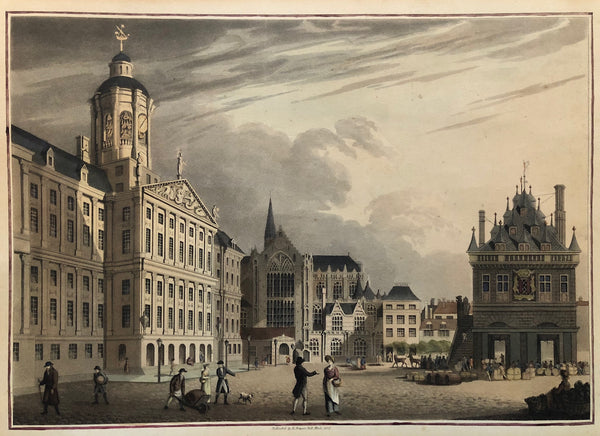 Very nice decorative view of the Dam square with the Royal Palace, the Nieuwe Kerk and 'De Waag'.  The contemporary colouring of this aquatintengraving is really very beautifull and delicate.  Published by Robert Bowyer, Pall Mall, in 1815.