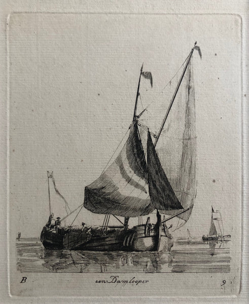 Een Damlooper' . Etching by Gerrit Groenewegen (1754 - 1826) from the second series (B) of 'Verscheyde Soorten van Hollandse Vaartuigen' . This is Plate 9.