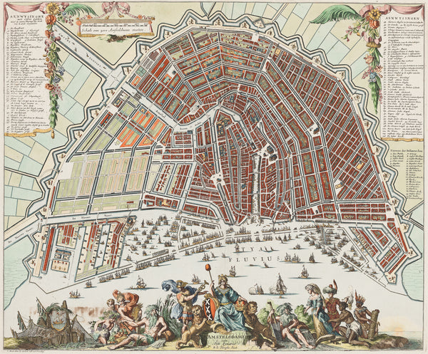"Antique print ""Amstelodamum cum Suis Pomoeriis"". Very rare map of Amsterdam by Romeyn de Hooghe and published by Gerard Valk."""