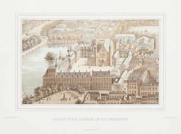 "Antique print ""The Hague: Binnenhof"". Impressive birds-eye view on the Binnenhof (Houses of Parliament) in The Hague."