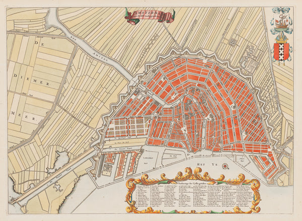 "Antique print ""Amsterdam met desselfs omleggende landen"". Plan of Amsterdam with the extension of the city."