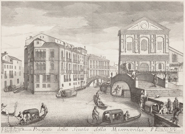 "Antique print ""Venice - Prospetto della scuola della misericordia"". Large impressive engraving showing the Misericordia in Venice."