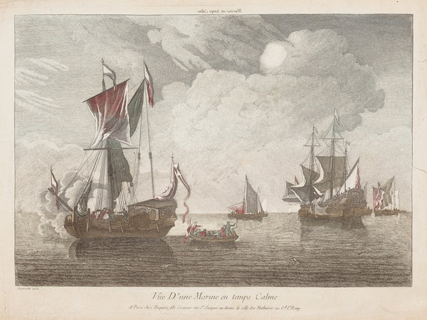 "Antique print ""Ships"". ""Vue d'une Marine en temps Calme"" after Van de Velde."