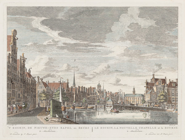 Antique print. View at the Rokin seen towards de Nieuwe Zijds Kapel and the Exchange in Amsterdam. Handcoloured engraving Publisher: Pieter Fouquet.