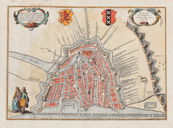 "Antique print ""Amstelodamum..."". Early plan of Amsterdam with 10 'bolwerken' and paths outside the city, like Appelmans Pad, Caetsbaenspad, Jan Jansen Pad en 't Hoere Pad."