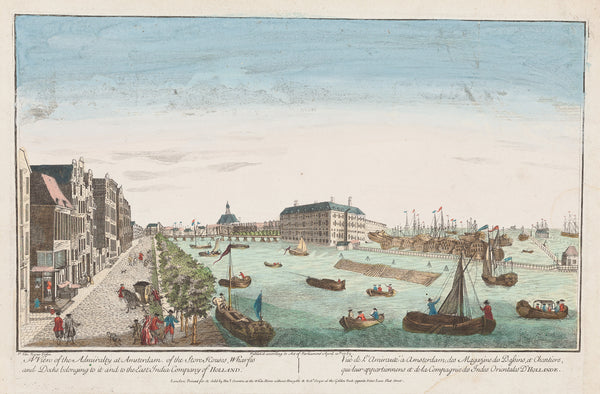 "Antique print ""A View of the Admiralty at Amsterdam..."". View at, what today is, The National Maritime Museum in Amsterdam. Contemporary hand coloured engraving."