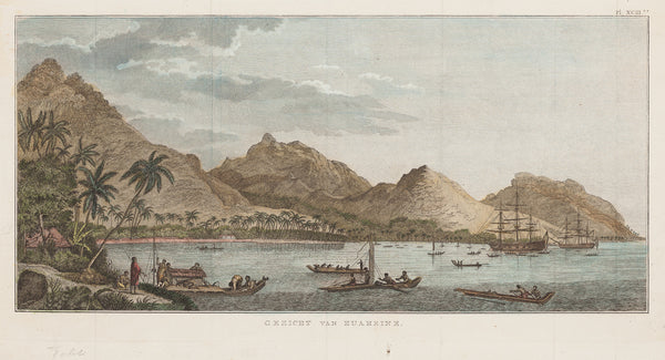 "Antique print ""View of Huaheine (Pacific Islands)""."