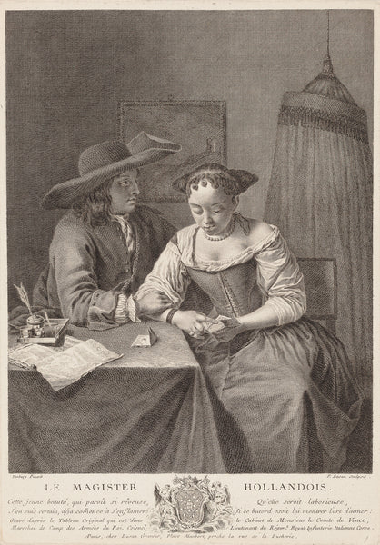 "Antique print ""Le Magister Hollandois"". The Dutch Teacher. Dutch interior with a girl reading a small book while a young man next to her holds her arm, an ink-well and a book on the table at left."