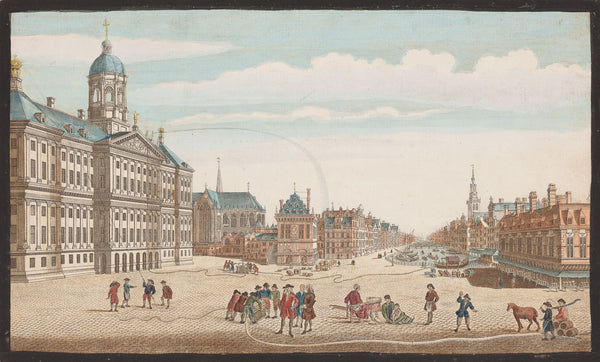 "Antique print ""Dam - Amsterdam"". A view of the Stad House and the Engines for extinguishing Fire at Amsterdam'"
