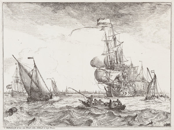 "Antique print ""Ships - Ludolf Bakhuizen"". Etching from the series of 10 Seascapes with views of the IJ and Amsterdam (...)."