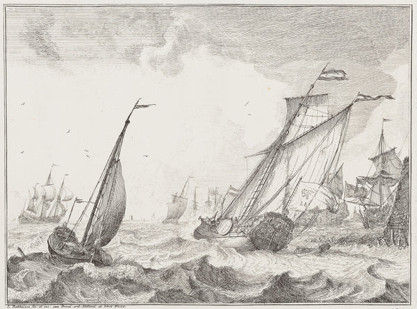 "Antique print ""Ships - Ludolf Bakhuizen"".  Etching from the series of 10 Seascapes with views of the IJ and Amsterdam (...)"