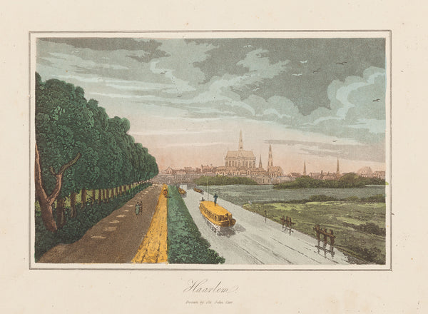 "Antique print ""Haarlem - Amsterdamse Vaart"". Aquantint engraving with contemporary hand colouring."