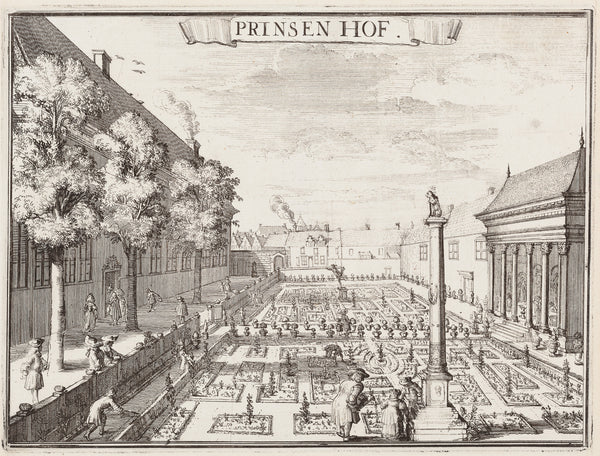 "Antique print ""Haarlem - Prinsenhof"". Engraving by Romeyn de Hooghe. One of the views that surrounds his famous wallmap of Haarlem."