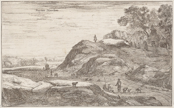 "Antique print ""Buyten Haerlem, Roelant Roghman"". View at a hilly landscape (dunes) in the surroundings of Haarlem."