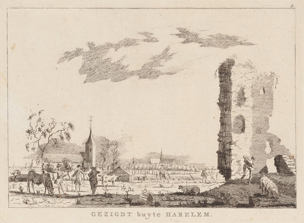 "Antique print ""Gezigdt buyte Harelem"". View on Haarlem, seen from the North (Schoten) with the ruins of the former Huis ter Kleef."