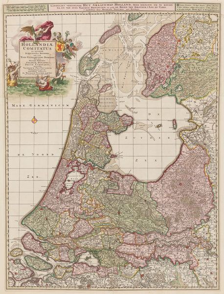 Antique print. Large, impressive map of Holland with part of Utrecht. Published by Nicolaas Visscher in 'Atlas Minor Sive Geographia Compendosia qua Orbis Terrarum' . 1696.