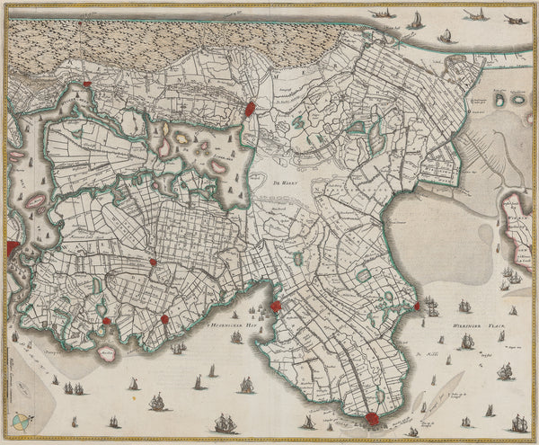 Antique print. Contemporary handcoloured engraved map of the north part of Noord Holland. With Schermer not poldered and Wieringen as an island. Decorated with many ships. Published in Henricus Hondius' Atlas of 1633. Verso French.