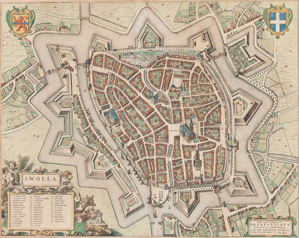 Antique print. Nice map of Zwolle by the most famous publisher of all time: Joan Blaeu. This map is from the Atlas: 'Toneel der Steden' from 1649.