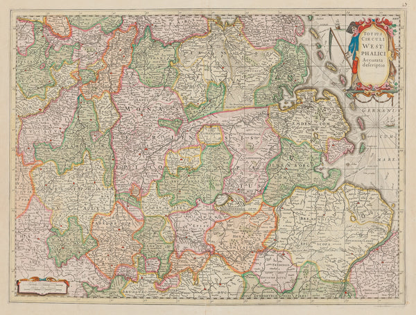 Antique print. 'Totius Circuli West Phalici Accurata descriptio' , contemporary handcoloured engraved map of Westfalen published by Henricus Hondius in 1639. It shows areas and places like: Hamburg, Groningen, Koln and Munster, Ameland, Drenthe.