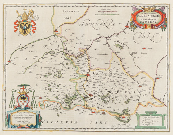 "Antique print. Title: 'Archiepiscopatus Cameracensis. Archevesché de Cambray'. Contemporary handcoloured engraving , published by Blaeu in his "" Toonneel des Aerdriicx, Ofte Nieuwe Atlas, Dat is Beschryving van alle Landen. Amsterdam, 1642. It shows the region in the north of France with places like: Crevecoeur, Valenchienne, Arras, etc."