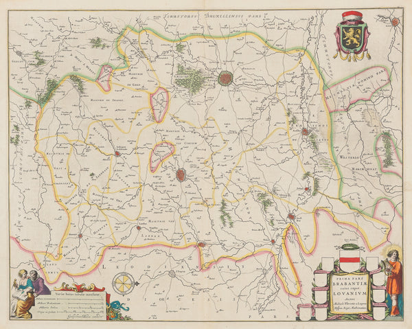 Antique print. Title: 'Prima pars Brabantiae cuius caput Lovanium Auctore Michaele Florentio a Langren. Hispan. Regis Mathematico. Contemporary handcoloured engraved map, published by Willem Blaeu in 1650. It shows the region around Leuven, Tienen, Aerschot.