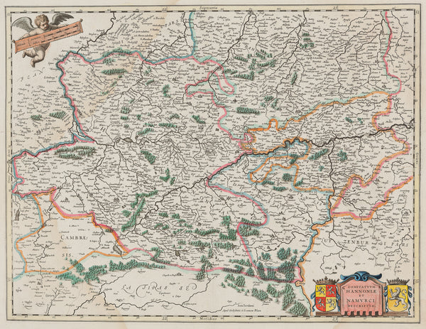 Antique print. Title: 'Comitatuum Hannoniae et Namurci Descripto' Engraved map with original colours, published by Willem Jansz. Blaeu in ca. 1634. It shows Central Belgium with the regions Namur and Hainaut and cities as Bruxelles and Mons.