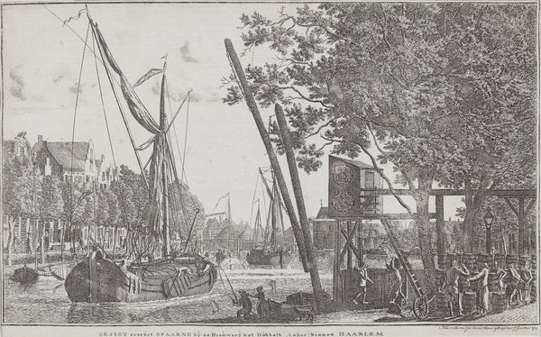 Antique print. Lovely view at the Spaarne with in the background the 'Lange Brug' and a lot of action with ships and people fishing , trading and working with beer barrels from one of the breweries at the Spaarne.