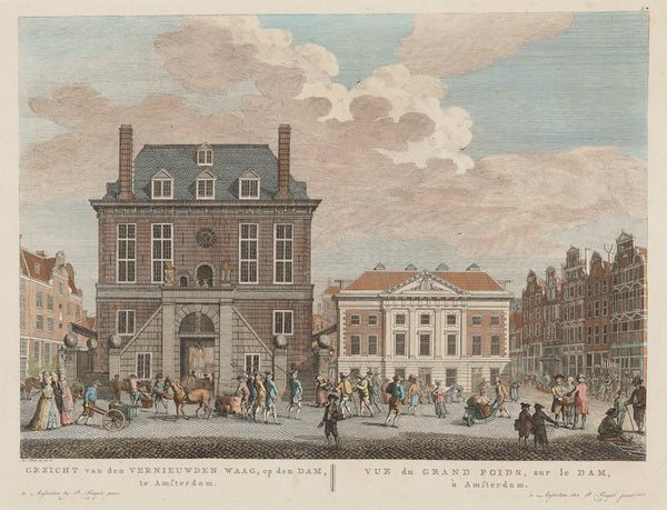 Antique print. Title: 'Gezicht van den Vernieuwden Waag, op den Dam, te Amsterdam.' Handcoloured engraving, drawn by H. Schouten and published by Pieter Fouquet Jr. Nice lively view at the Damsquare in Amsterdam.