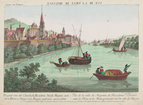 "Antique print. Title: Prospect von der Churfürstl. Residenz-Stadt Maynz zwischen Rhein und Mayn von Bingen aufwärts anzusehen"". Contemporary handcoloured engraving, so called 'optical print'. Published by Leizel, Augsburg ca. 1770."