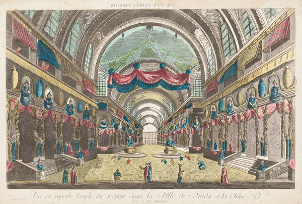 Antique print. Titlle: 'Vue du superbe Temple du Serpent dans la Ville de Juida a la Chine'. Handcoloured engraving, so called optical print or vue d'optique. Showing the interior of a temple in Juida (China) with two large Buddha's in the centre. Paris, ca. 1770.