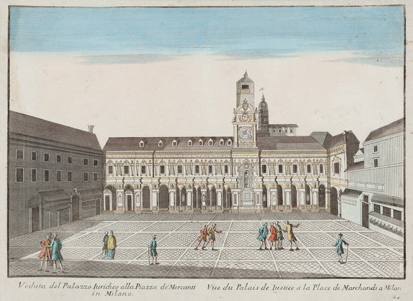 Antique print. Title: Veduta del palazzo Iuridico ala piazza de' Mercanti in Milano. Rare, so called optical print of palace of justice in Milan. Original colouring. Published by Remondini in Bassano ca. 1780.