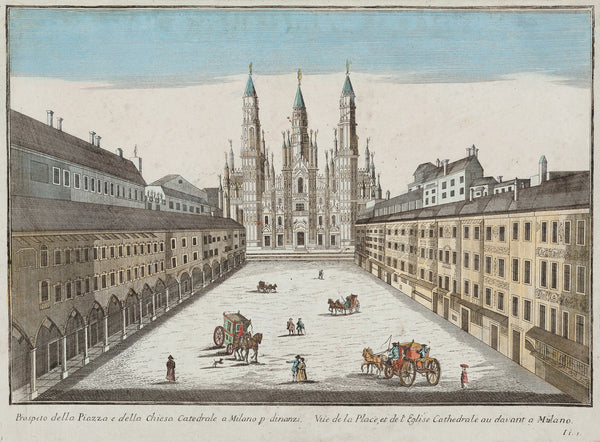 Antique print. Title: Prospeto della Piazza e della chiesa Cattedrale a Milano: Nice optical print of the Duomo in Milan. Contemporary handcoloured engraving by Remondini, published by Bassano in ca. 1760.