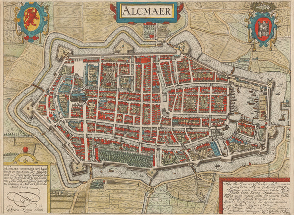 Antieke prent. Antique print. 'Alcmaer': Beautiful coloured detailled plan of Alkmaar. Engraved by Petrus Kaerius in 1603 and published by Guicciardini in 1610.