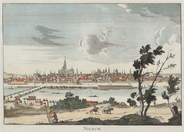 Antieke prent. Antique print. Title: 'Weenen'. Striking view of Vienna. Handcoloured engraving, published by Francois Halma (Amsterdam) in 1705. Vienna, Wien, Wenen, antique print, engraving, view, austria