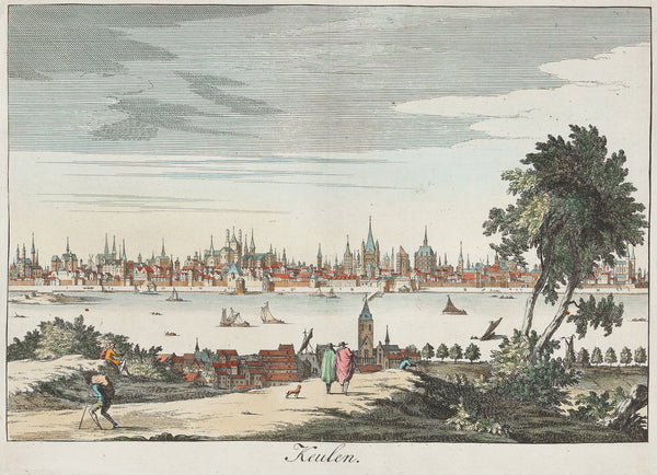 Antieke prent. Antique print. Title: Keulen: Very nice view at Cologne, with the Rhine. Handcoloured engraving, published by Francois Halma (Amsterdam) in 1705. Cologne, Koln , Keulen, Rhine, Germany, view, antique print