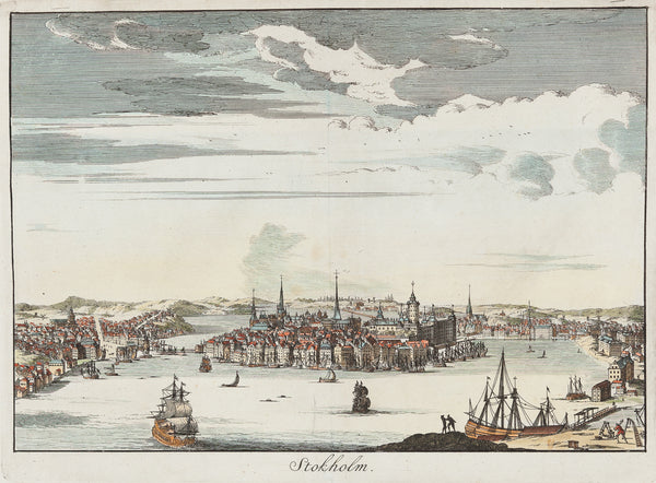 Antieke prent. Antique print. Title 'Stokholm'. Nice view of Stockholm. Handcoloured engraving published by Francois Halma (Amsterdam) in 1705. Sweden, Stockholm, scandinavia, engraving, antique print, view
