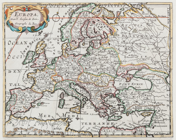 Antieke prent. Antique print. Title: Europa, door N. Sanson de Zoon, Geographe du Roy'. Nice detailed map of Europe, handcoloured engraving published by Francois Halma in 1705. Europa, door N. Sanson de Zoon, Geographe du Roy'. Nice detailed map of Europe, handcoloured engraving published by Francois Halma in 1705